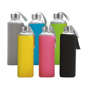 6 Pack Glass Water Bottles with Multi-Color Neoprene Sleeves by California Home Goods